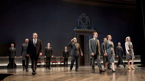 """Jefferson Mays and Jennifer Ehle stand in the middle at the front of the stage of the Vivian Beaumont Theater during the special performance of """"Oslo"""". They played the leads as Terje Rød-Larsen and Mona Juul. Photograph: International Peace Institute"""