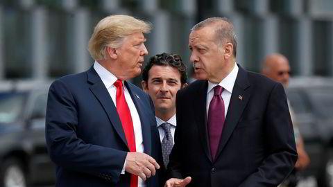 USAs president Donald Trump og hans tyrkiske kollega Recep Tayyip Erdogan, her på et Nato-toppmøte i Brussel ifjor.