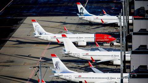 Norwegian fly på Oslo lufthavn bakkemannskap tar inn bagasje i flyet. ---