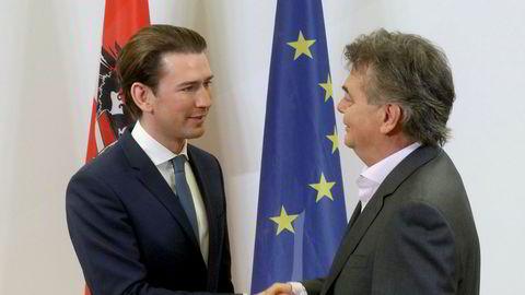 Sebastian Kurz (33), som leder det konservative ÖVP, og De grønnes partileder Werner Kogler (58), møttes onsdag til et siste forhandlingsmøte. Sebastian Kurz (33) blir sannsynligvis Østerrikes statsminister igjen.