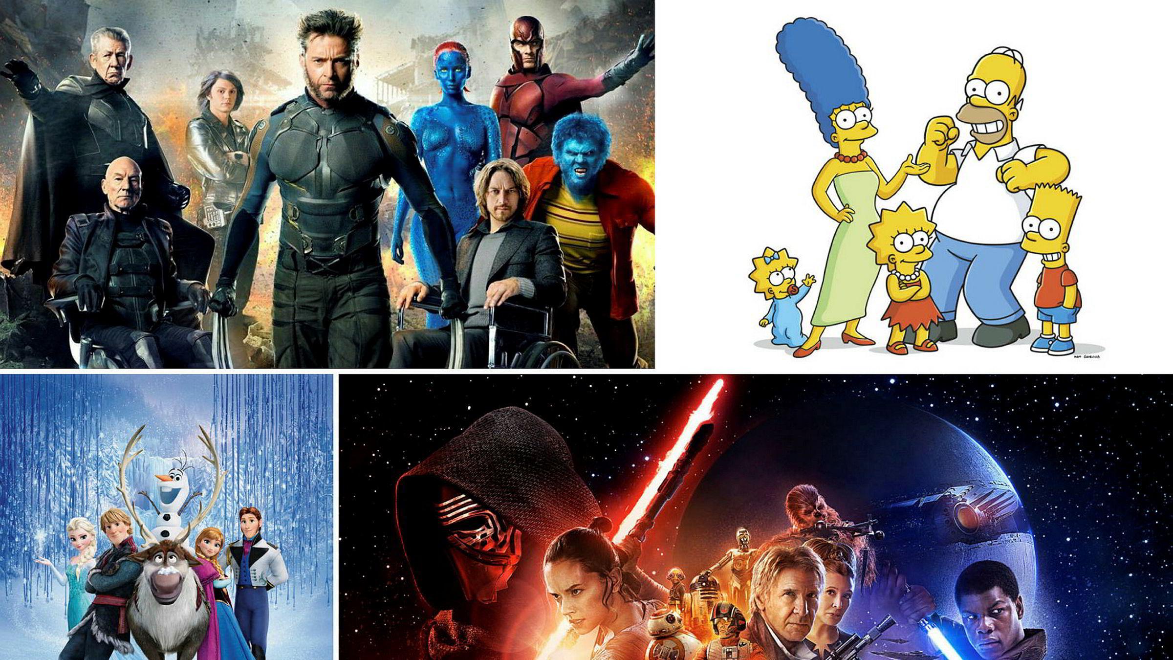 Etter oppkjøpet av 21st Century Fox kommer Disney til å lansere sin egen strømmetjeneste. Populærer filmer og serier som (fra venstre): X-Men, The Simpsons, Frost og Star Wars kommer til å bli samlet under Disney paraplyen.
