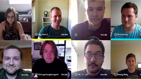 I Sneek vises en mosaikk av stillbilder på skjermen med alle kollegene. Slik vet man alltid hvem som er på jobb og tilgjengelig for videosamtale.