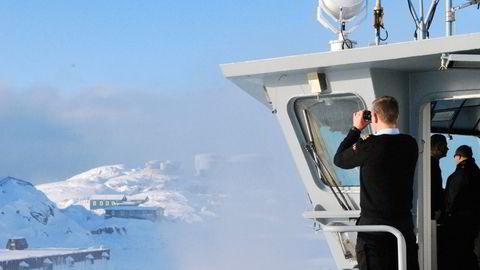 Den danske marinen patruljerer ved Sisimut på Grønland.
