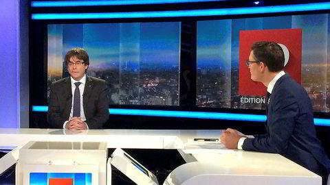 Carles Puigdemont da han ble intervjuet på den belgiske tv-kanalen RTBF fredag.