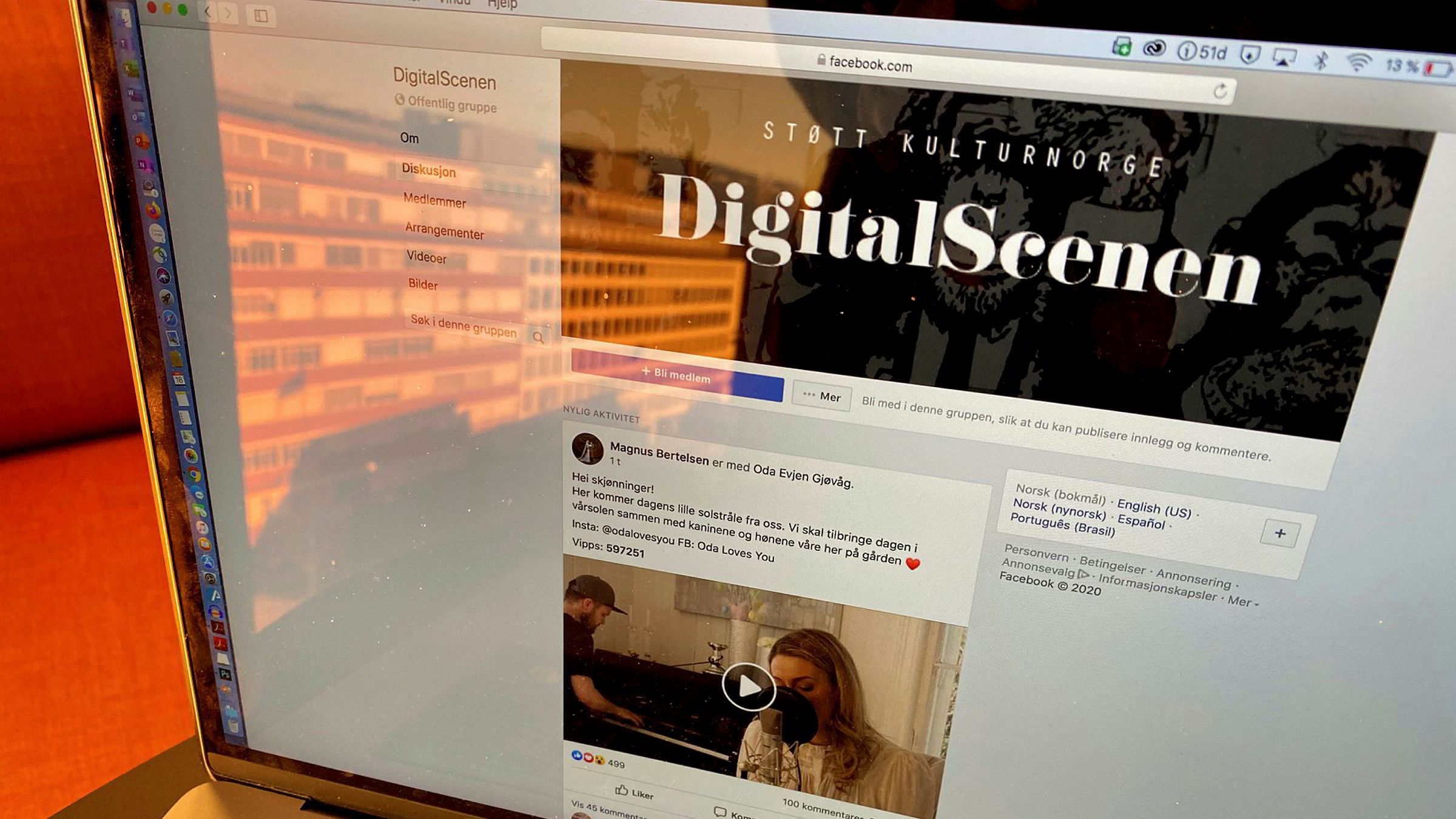 Digitale «scener» som Brakkesyke 2020, Digitalscenen og Dugnad åpner for artister som står uten inntekt. Det er bare å koble til et sett høyttalere, svinge seg på kjøkkengulvet og vippse penger, skriver Anne Worsøe.