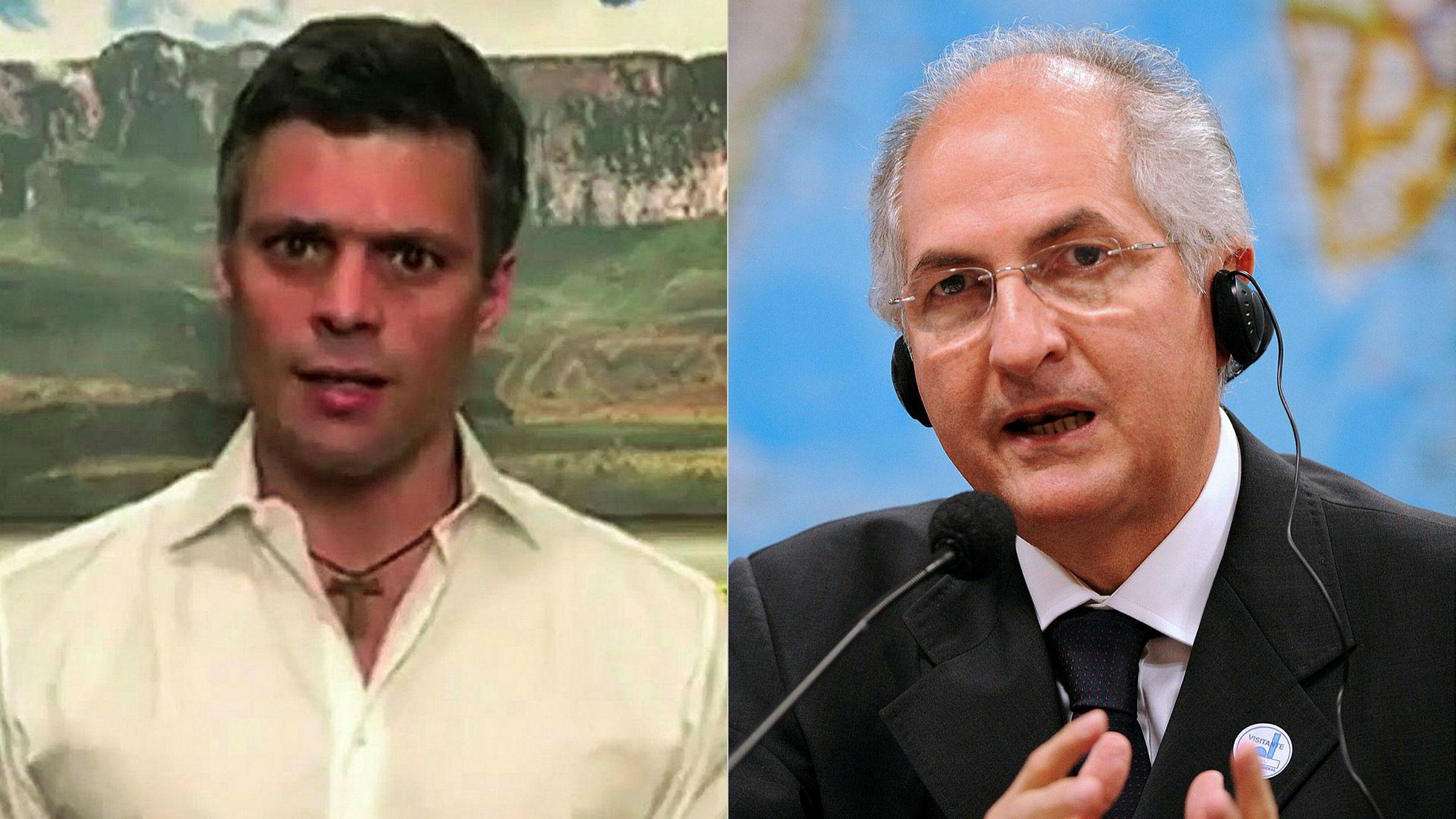Til venstre, opposisjonsleder Leopolde Lopez, til høyre Antonio Ledezma.