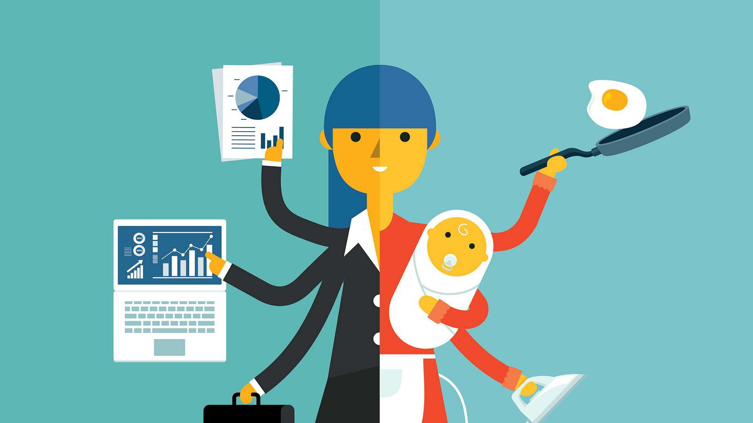 Det går fint an å kombinere småbarnsliv med topplederkarriere, ifølge artikkelforfatterne.