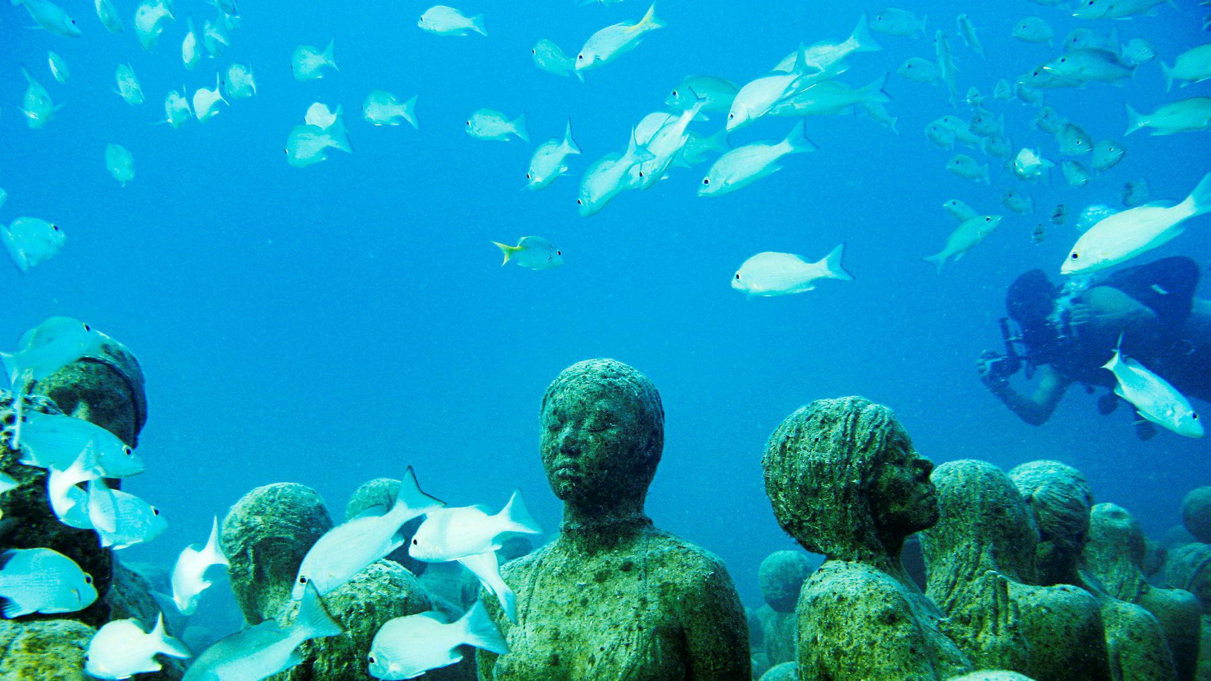 I november åpner en skulpturpark under vann på Sjøholmen i Sandvika. Den britiske kunstneren Jason Taylor skal lage skulpturene. Her fra Taylors «The Silent Evolution» utenfor kysten av Cancún i Mexico.