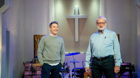 Morten Aune (til venstre), pastor i Pinsekirken i Sandvika, og Terje Mikalsen selger digitalt kollekt-selskap til et oppkjøpsfond i USA for 203 millioner kroner.