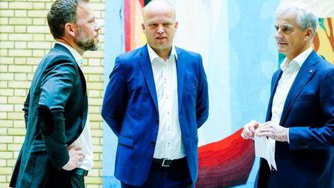 Ap-leder Jonas Gahr Støre Sp-leder Trygve Slagsvold Vedum og SV-leder Audun Lysbakken har forvirrende forskjellige visjoner om rødgrønt styre etter valget i høst.
