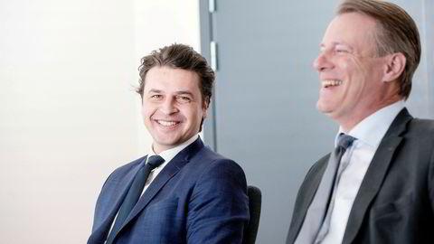 Ferds konsernsjef Morten Borge (t.v.) og Johan Andresen. Kartongselskapet Elopak ble etablert på 1950-tallet av blant annet Johan H. Andresen senior. I dag har selskapet sin første handelsdag på Børsen.