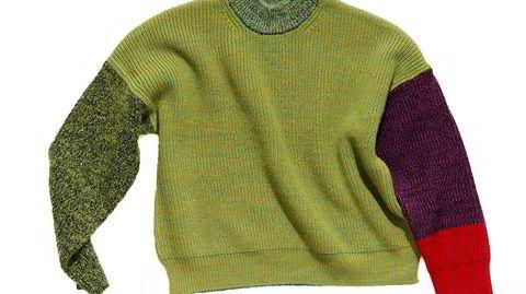 Waste Yarn Project-merke. Gensernes farger bestemmes av hva som til enhver tid er til overs i fabrikkene. Fargekombinasjonene? De avgjøres av et lykkehjul.