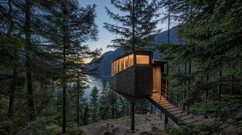 Ekte trehytte. Hvis man kaller det en trehytte, er det litt juks å feste hytta til bakken, mener arkitekt Reinhard Kropf. Disse hyttene er festet til et stålrør, som går rundt trestammen og på den måten fordeler vekten av hytta og holder den oppe.