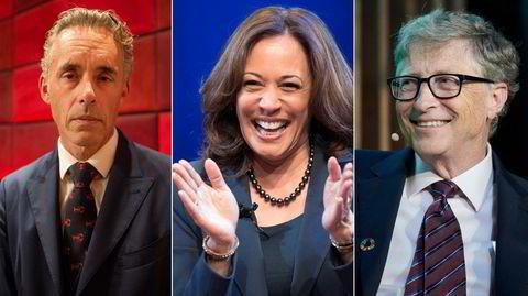 På vei til bokhyllen: Jordan Peterson (fra venstre), Kamala Harris og Bill Gates.