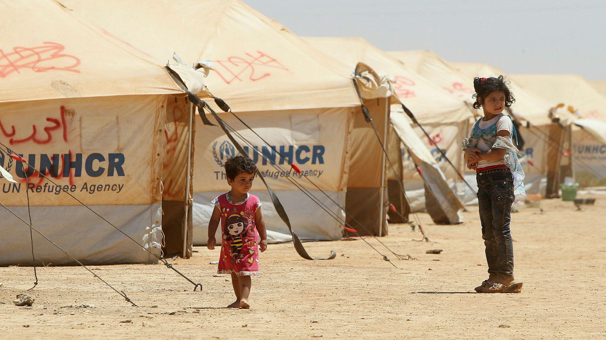 EU vurderer flyktningleirer utenfor Europa. Her fra en FN-leir for syriske flyktninger i Mafraq i Jordan.