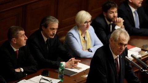 Tsjekkias president Milos Zeman under en tale i nasjonalforsamlingen tidligere denne uken.