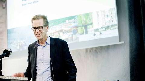 I flere tiår har Ingolv Høyland vært en av Odd Reitans mest betrodde ledere. Her er han på resultatpresentasjon hos Reitangruppen på Lade Gaard i 2017.