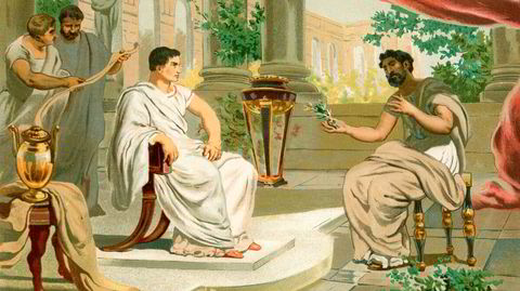 Den romerske keiseren Vespasian møter Plinius den eldre i Roma, sistnevnte står blant mye annet igjen som en av verdenshistoriens første vinskribenter.