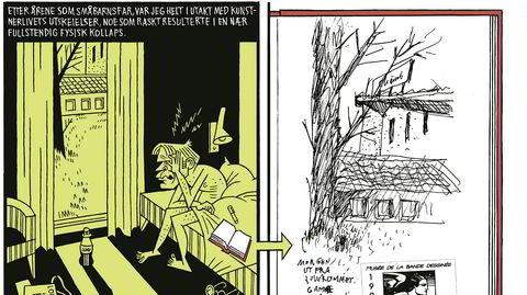 Dialog. I «Mitt liv som tegning» går Lars Fiskes gjennomarbeidede stil i dialog med skissebøkenes flyktige streker.
