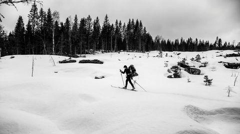 Mot naturen. Snørikt i nærheten av Puttedalen, langt nord i Oslo. Ikke en kjeft å se.