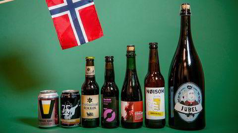 Øl til 17 mai. Farfars hage, Morgenstemning, Frydenlund bokkøl, Blackberry Porter, Coolship, Nøisom, Jubel.