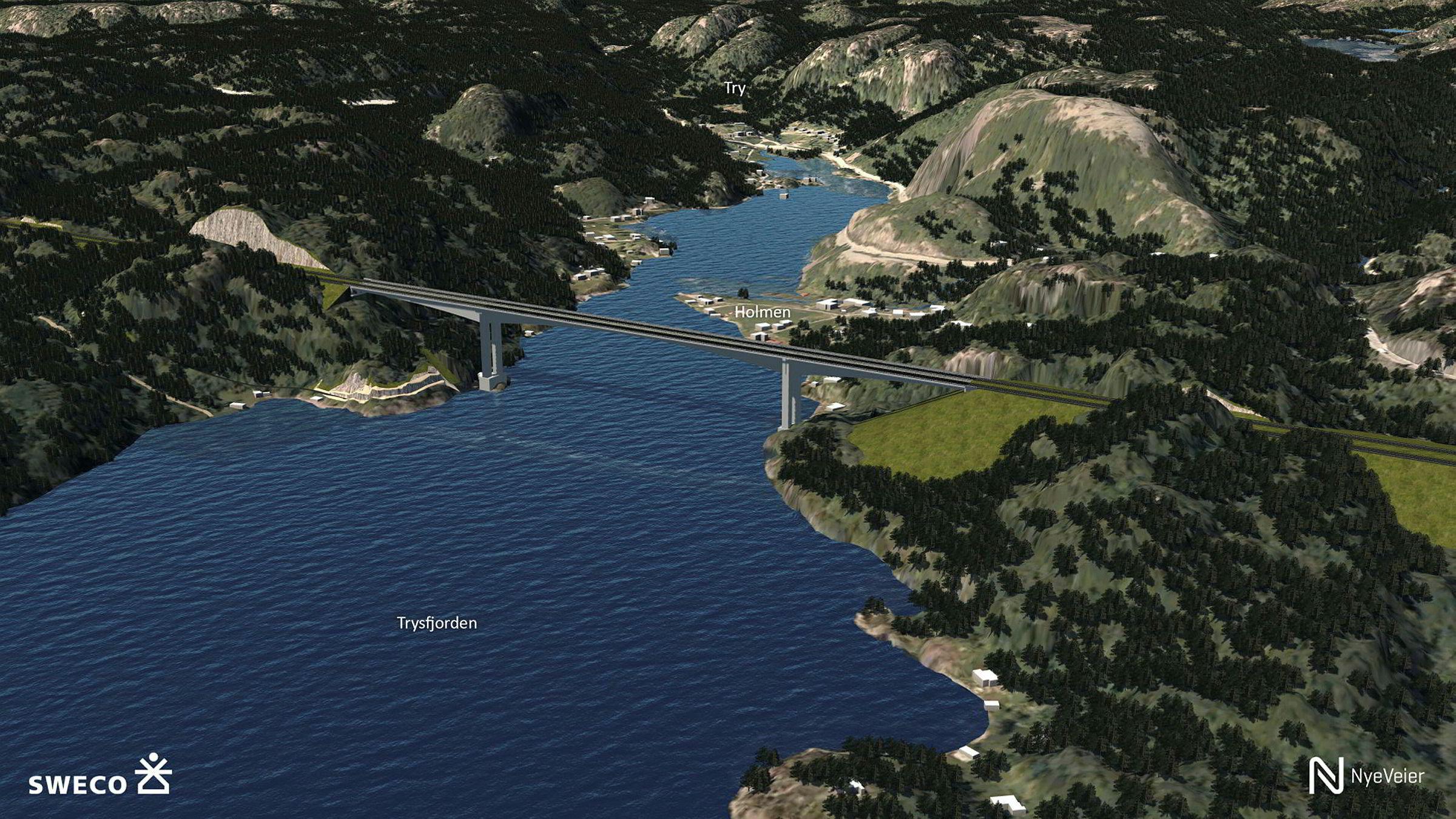E39-kontrakten til AF Gruppen inkluderer blant annet en fire kilometers tunnel og en bro på 550 meter (bildet) over Trysfjorden.