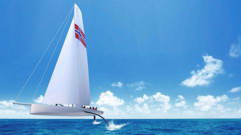 Slik skal den norske America's cup-båten se ut. Seilbåten utvikles ved NTNU i Trondheim. Budsjettet er på rundt 400 millioner kroner.