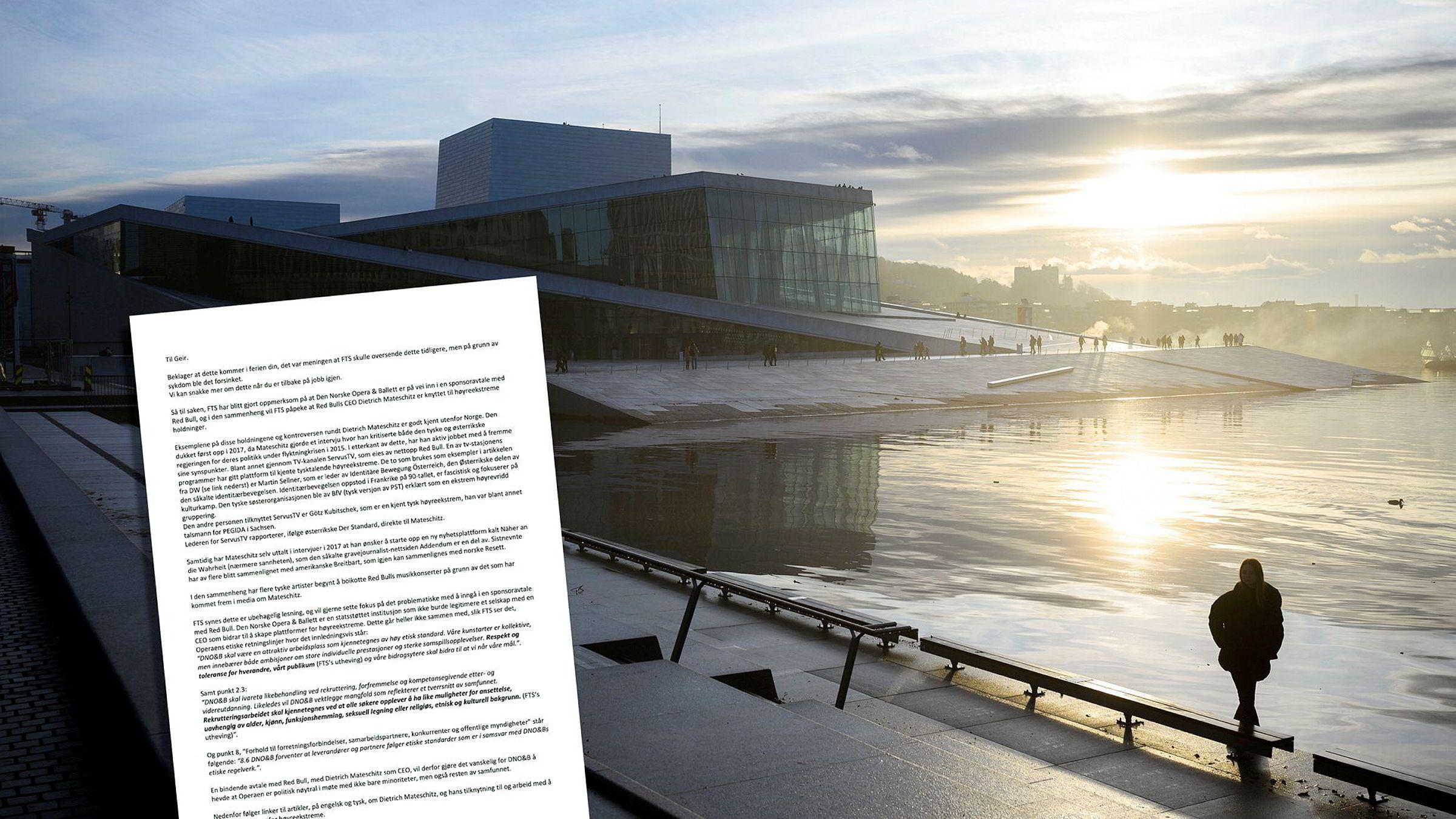 Red Bull er Den Norske Opera & Balletts nye hovedsponsor. Dette til tross for at Fagforbundet Teater og Scene sendte en bekymringsmelding før avtalen ble inngått.