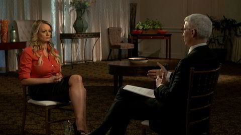 Stormy Daniels, an adult film star and director whose real name is Stephanie Clifford is interviewed by Anderson Cooper of CBS News' 60 Minutes program in early March 2018, in a still image from video provided March 25, 2018. CBSNews/60 MINUTES/Handout via REUTERS. ATTENTION EDITOR - THIS IMAGE WAS TAKEN BY A THIRD PARTY. NO ARCHIVES, NO RESALES, MANDATORY CREDIT.