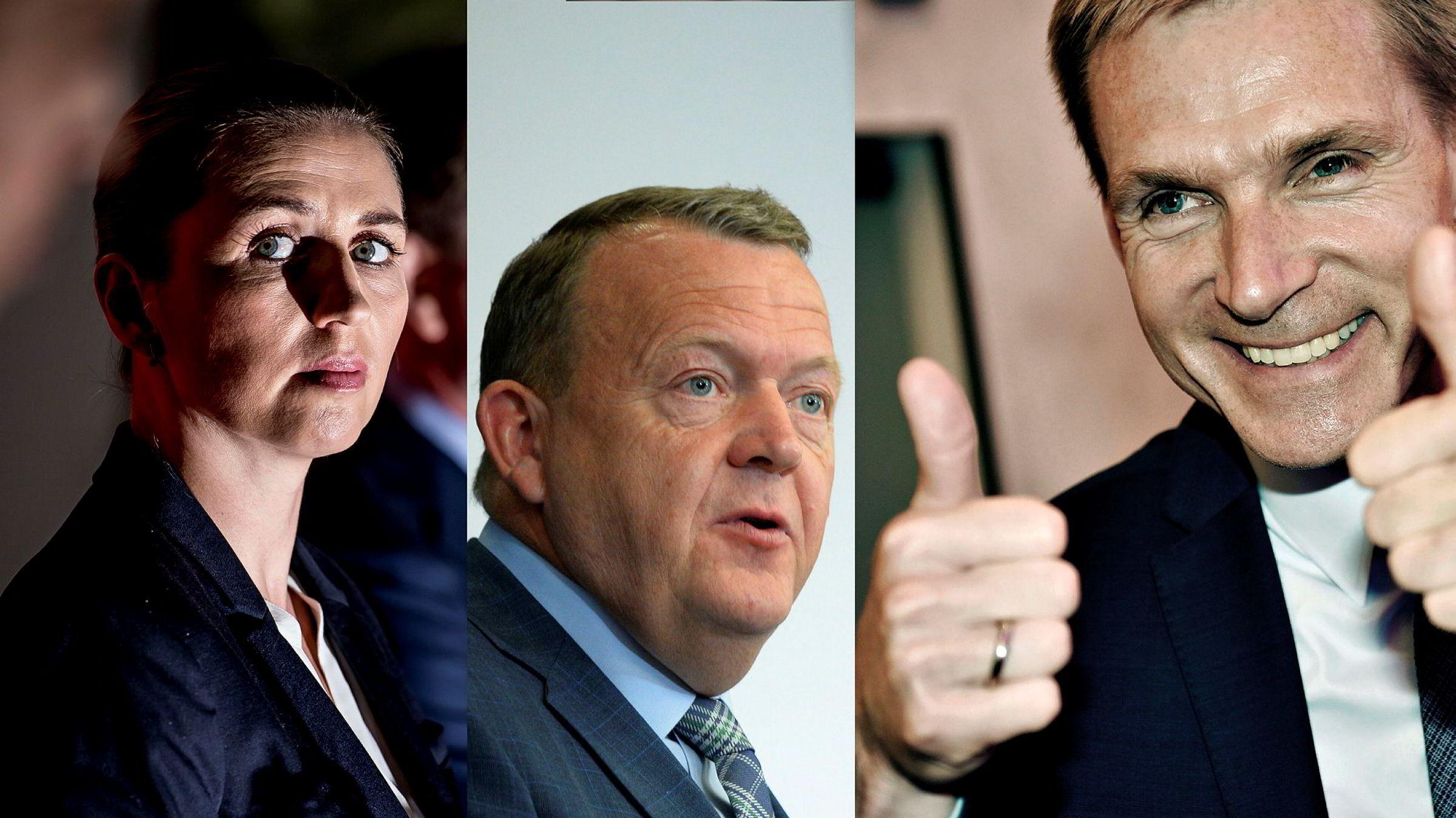 Fra venstre: Socialdemokratiets leder Mette Frederiksen, statsminister Lars Løkke Rasmussen og leder i Dansk Folkeparti, Kristian Thulesen Dahl.