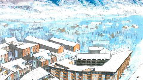 Slik blir Torset-familiens nye leilighetsprosjekt kalt Høgeloft midt i Fjellandsbyen i Hemsedal.
