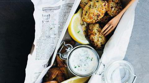 Lettvint. – Med litt tartarsaus og sitron på toppen føles det ganske ekte, sier David Frenkiel om vegetarvarianten av fish & chips – fritert blomkål og potetchips som får steke sammen.