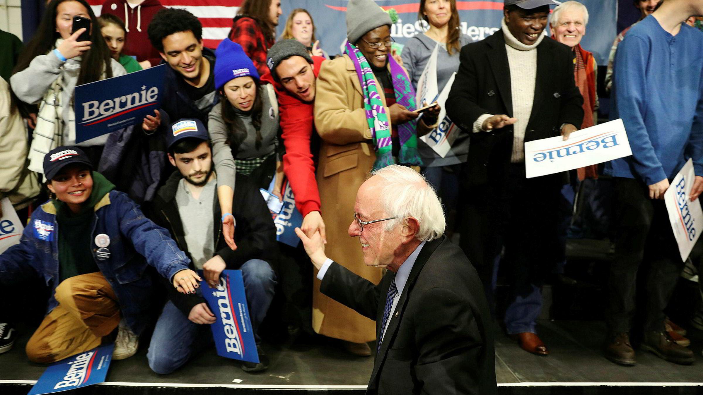 Bernie Sanders er sammen med Pete Buttigieg favoritt foran valgene i New Hampshire.