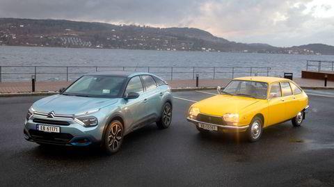 Citroën hevder ë-C4 skal ha likheter med den gamle GS. Legg spesielt merke til hvor store dagens biler er blitt.