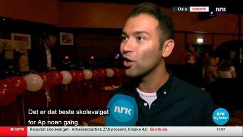 Reporter Martin Roalsø konfronterer AUF. Live inne fra deres jublende valgvake ble Mani Husseini bedt om å kommentere de svake tallene.