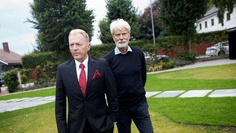 Tor Dagfinn Veen (til høyre) solgte fondsforvaltningsselskapet Skagenfondene til Storebrand i fjor. Her sammen med en annen Skagengründer, Åge Westbø.