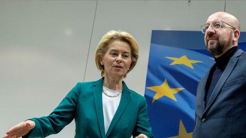 Europakommisjonens president Ursula von der Leyen og Europarådets president Charles Michel, her fotografert sist uke.