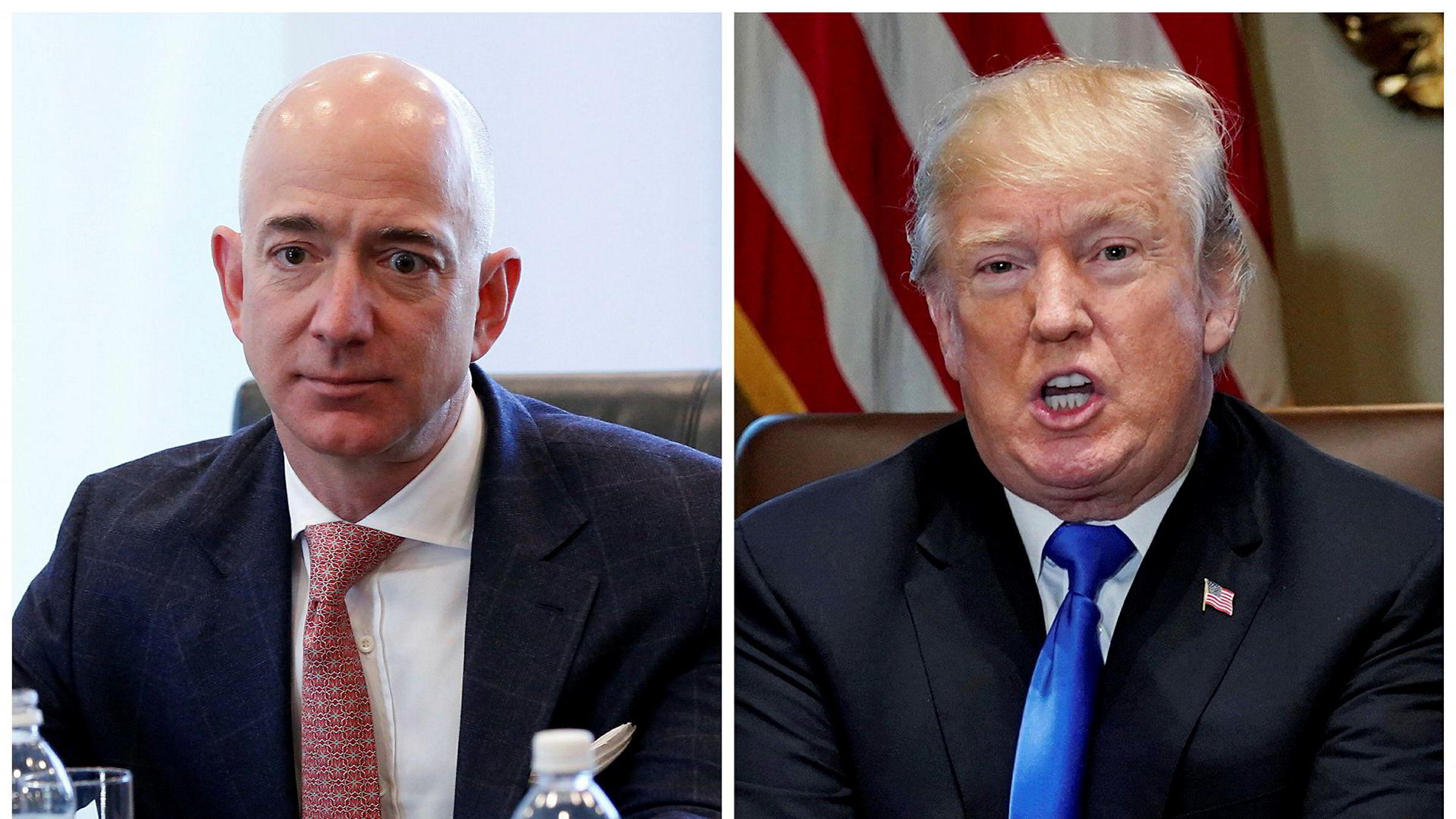 Amazon-eier Jeff Bezos har fått president Donald Trump på nakken.