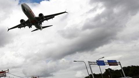 Et Boeing 737 Max-fly fra det brasilianske flyselskapet Gol Linhas Aéreas går inn for landing på Salgado Filho-flyplassen i Porto Alegre i Brasil 9. desember i år.