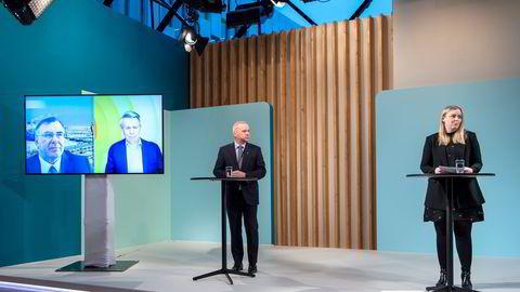 Equinor-sjef Anders Opedal og olje- og energiminister Tina Bru med Styreleder og konsernsjef i Total, Patrick Pouyanné (tv) og Shell-sjefen Ben van Beurden på videolink.