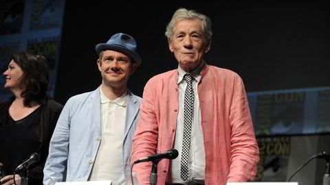 Skuespilleren Martin Freeman (i midten) og Ian McKellen (t.h.), som spilte henholdsvis Bilbo Baggins og Gandalf, vil samle inn millionbeløp for å kjøpe J. R. R. Tolkiens tidligere Oxford-villa.