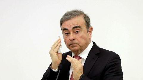 Tidligere Renault-Nissan-sjef Carlos Ghosn på pressekonferansen i Beirut onsdag.