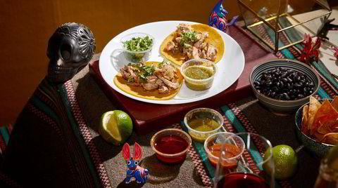Du og jeg og tacokit for to fra Breddos Tacos. Lime og koriander medfølger.