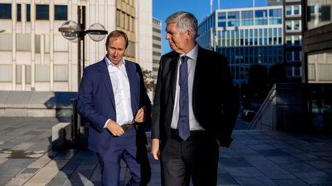 Administrerende direktør Svenn-Tore Larsen (til høyre) og finansdirektør Pål Elstad i Nordic Semiconductor.