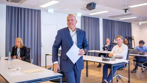 Equinor-sjef Anders Opedal på pressekonferansen for kvartalsrapporten onsdag morgen.