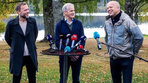 Audun Lysbakken, Jonas Gahr Støre og Trygve Slagsvold Vedum har brukt to dager på å sondere muligheten for å danne regjering.