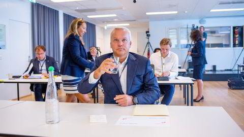 Konsernsjef Anders Opedal i Equinor på en pressekonferanse onsdag morgen i forbindelse med selskapets resultatfremlegging for første halvår 2021.