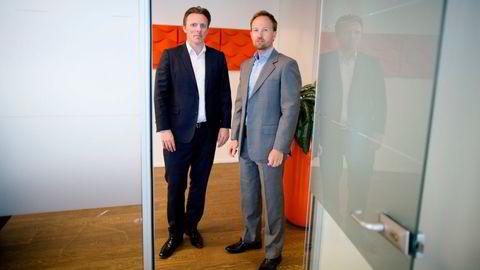 EQT ledes av nordmannen Christian Sinding, (t.h). Norske Anders Misund (t.v.) er Norden-sjef og sentral partner i oppkjøpsfondet.