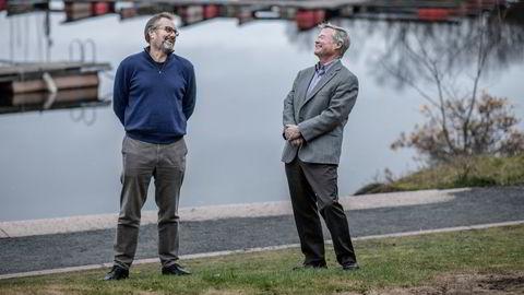 Harald Dirdal i Norseman Wind as (venstre) har drevet med vindkraft i flere tiår. Nå vil de bygge havvind i kompaniskap med Norgesgruppen og Asko, representert av styreleder Torbjørn Johannson (høyre).