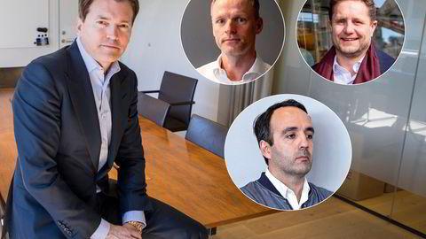 Arne Fredly (t.v), Ketil Skorstad (innfelt, venstre), Kristian Lundkvist (innfelt høyre) og Fredrik D. Sneve er fire av medlemmene i en investorgruppe som vil ta over Axxis Geo Solutions. Nå har gruppen jekket opp summen de er villige til å skyte inn i selskapet.